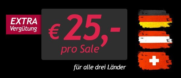 Extra Sale-Vergütung für alle drei Länder
